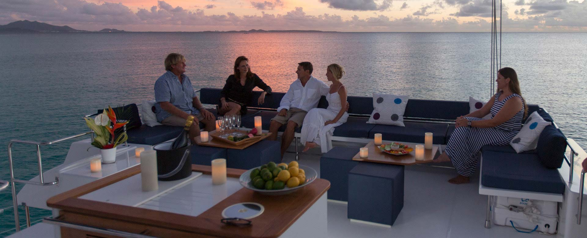 Yacht owners enjoying the sunset
